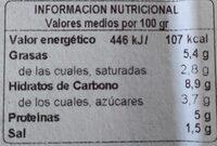 Pimiento relleno de bacalao en salsa - Informació nutricional - es