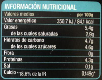 Yogur natural de cabra y oveja - Informations nutritionnelles