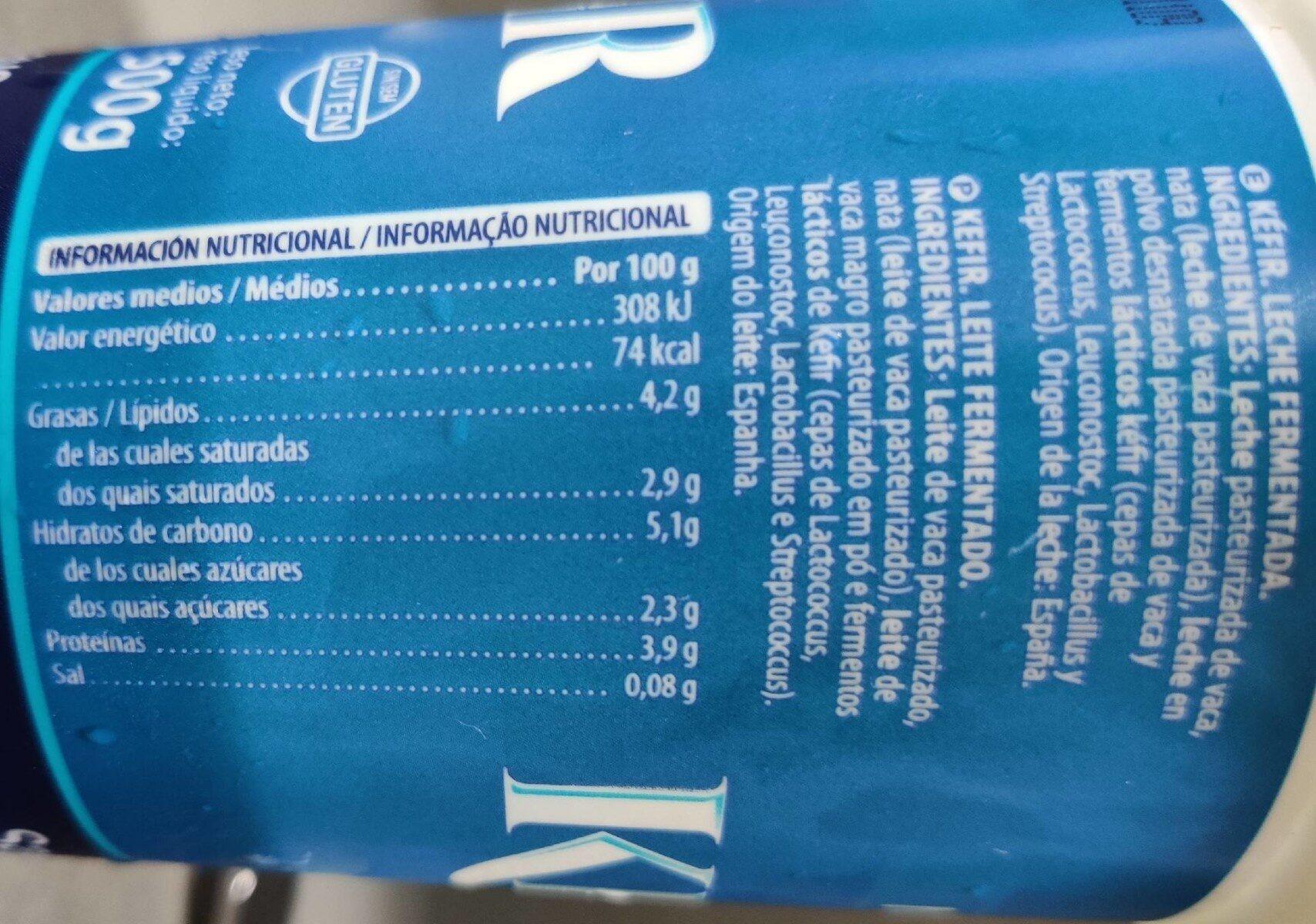 Natural Kéfir - Informations nutritionnelles - es