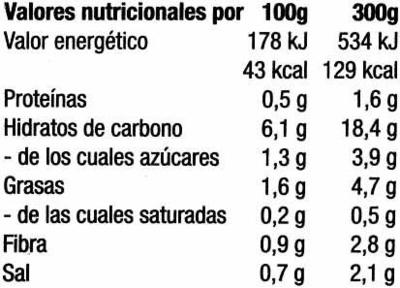 Crema de calabaza y zanahoria congelada - Informations nutritionnelles - es