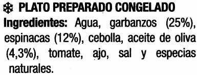 Garbanzos con espinacas - Ingredientes - es