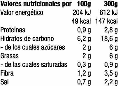 Crema de calabacines congelada - Informació nutricional