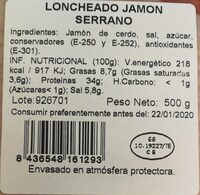 Jamón serrano - Nutrition facts - es
