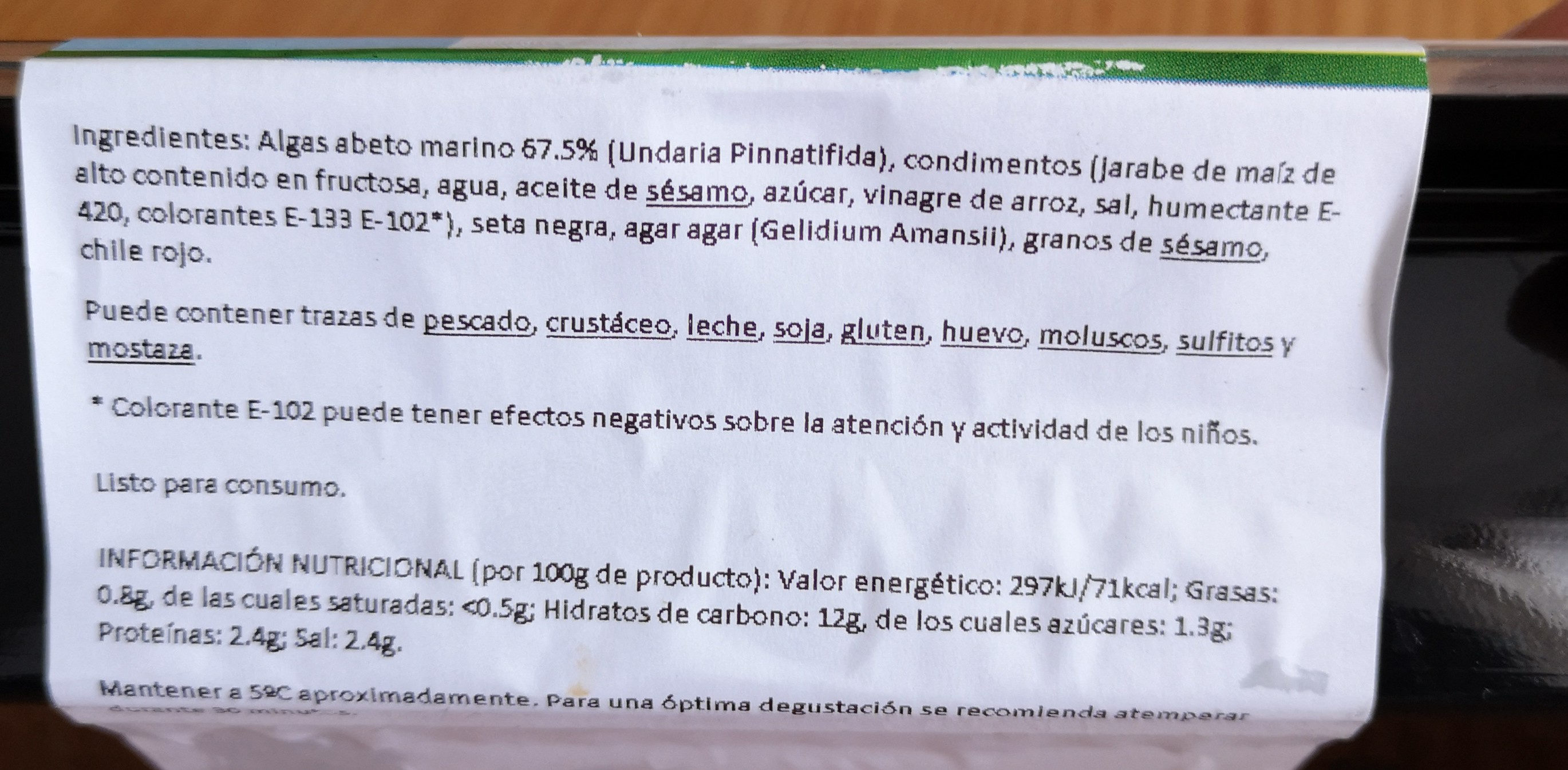 Ensalada alga wakame - Ingredients - es