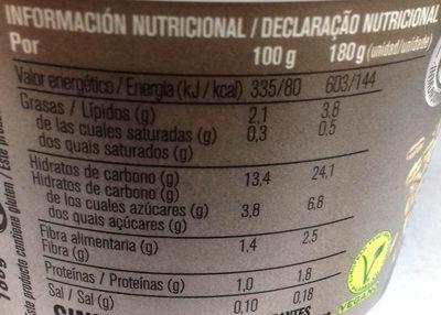 Es avena natural - Información nutricional