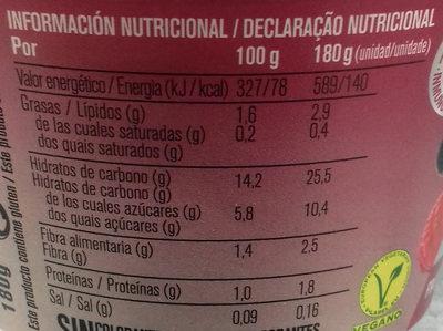 Es avena Frutos Rojos - Información nutricional