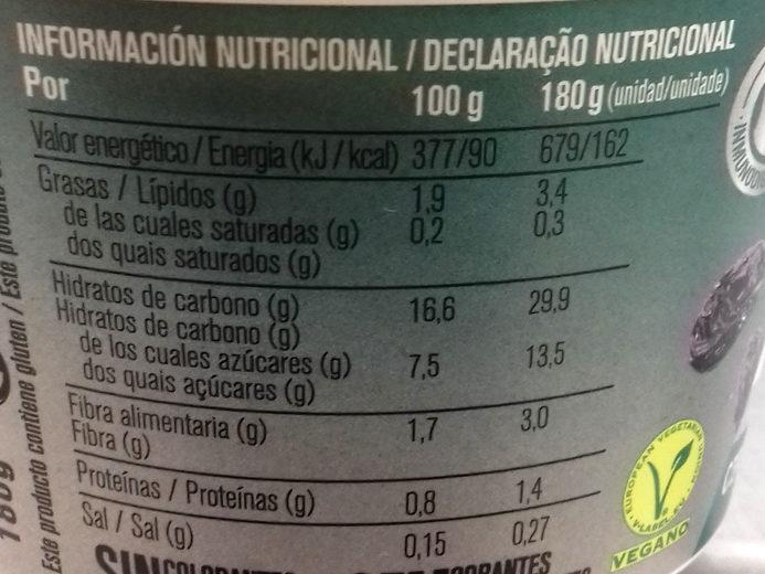 Es avena Ciruela Pasa - Información nutricional
