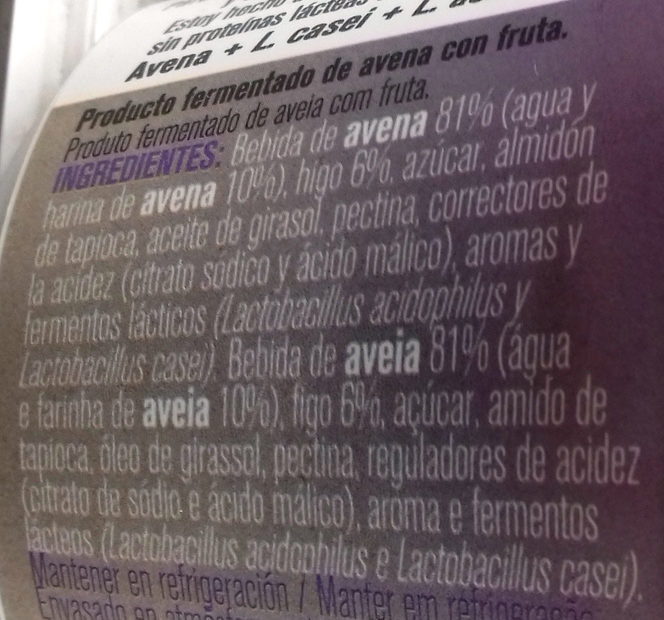 Avena higo - Ingredientes