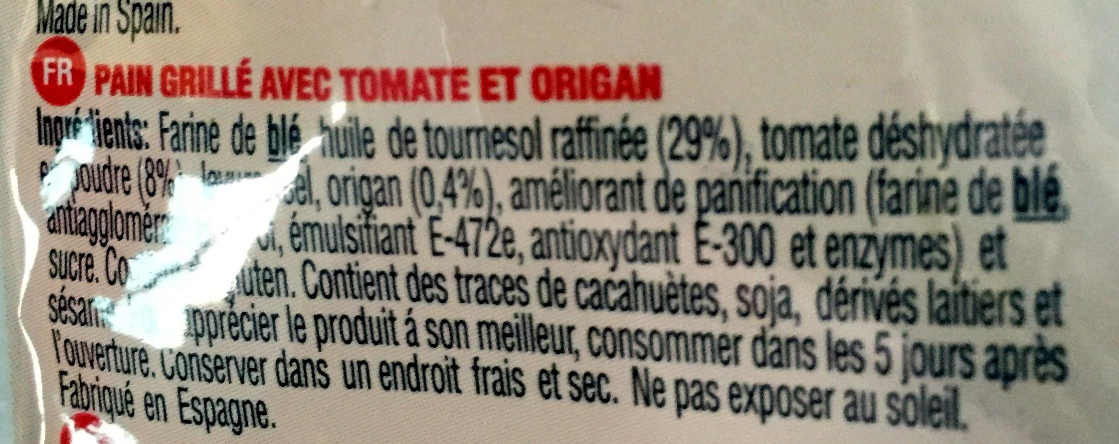 Pain con tomate origan - Ingrédients - fr