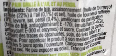 Snack Méditerranéen - Pain Grillé à l'Ail et au Persil - Ingrédients