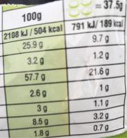 Snack Méditerranéen - Pain Grillé à l'Ail et au Persil - Informations nutritionnelles