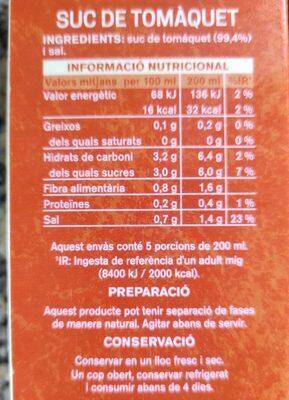 Suc de Tomàquet - Informations nutritionnelles - es