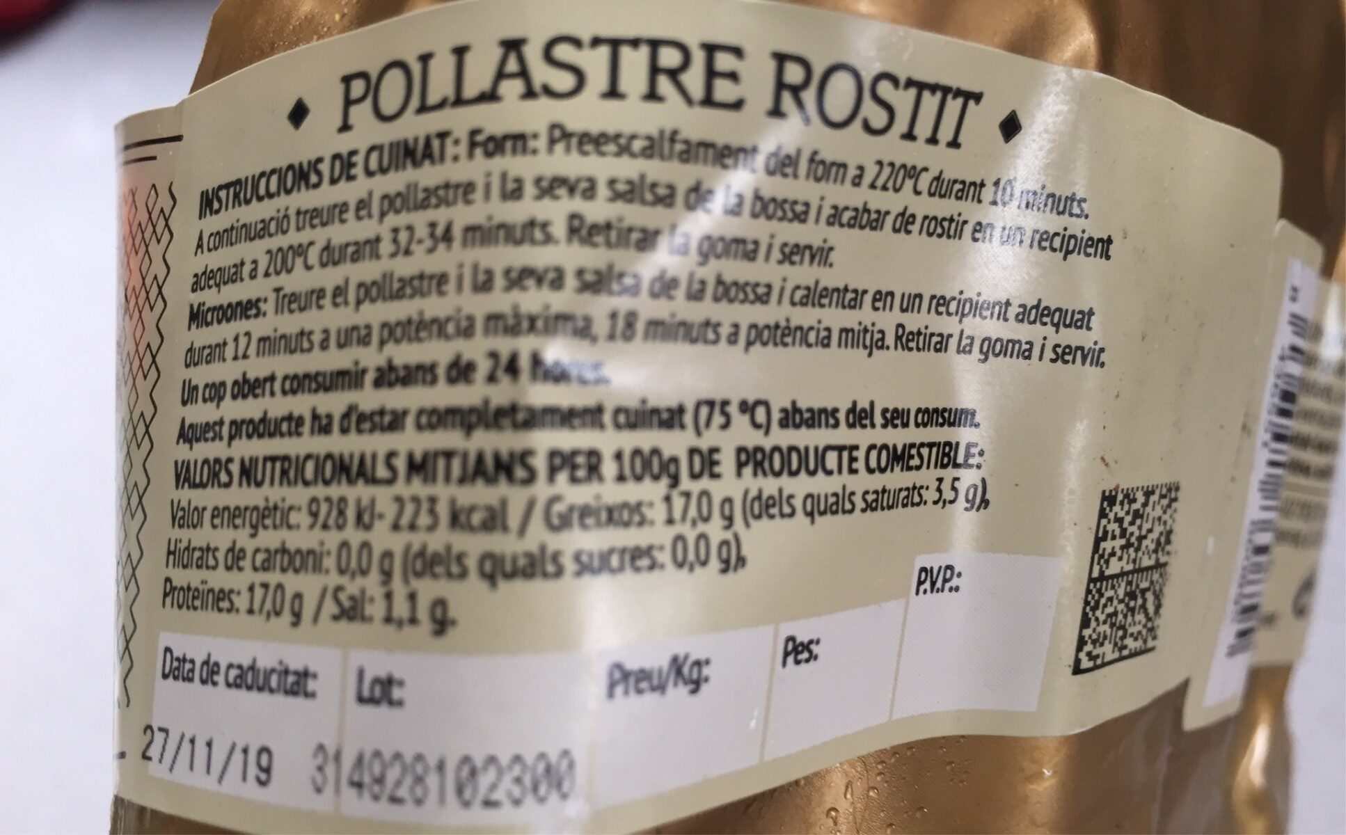 Pollastre Rostit - Nutrition facts