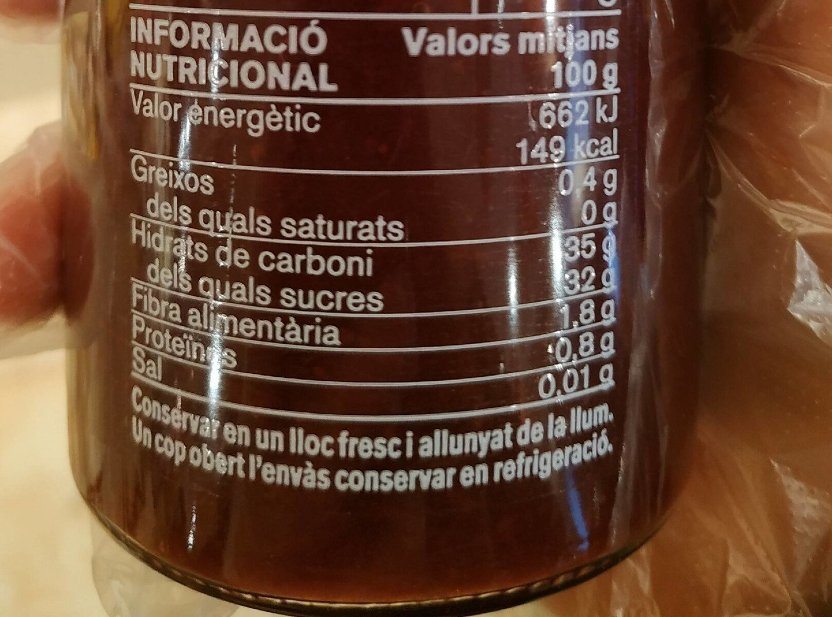 Mermelada de maduixa - Información nutricional - ca