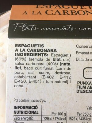Espaguetis a la Carbornara - Ingredientes