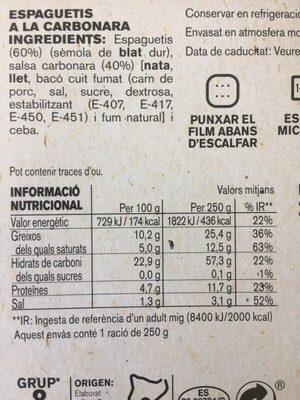 Espaguetis a la Carbornara - Información nutricional
