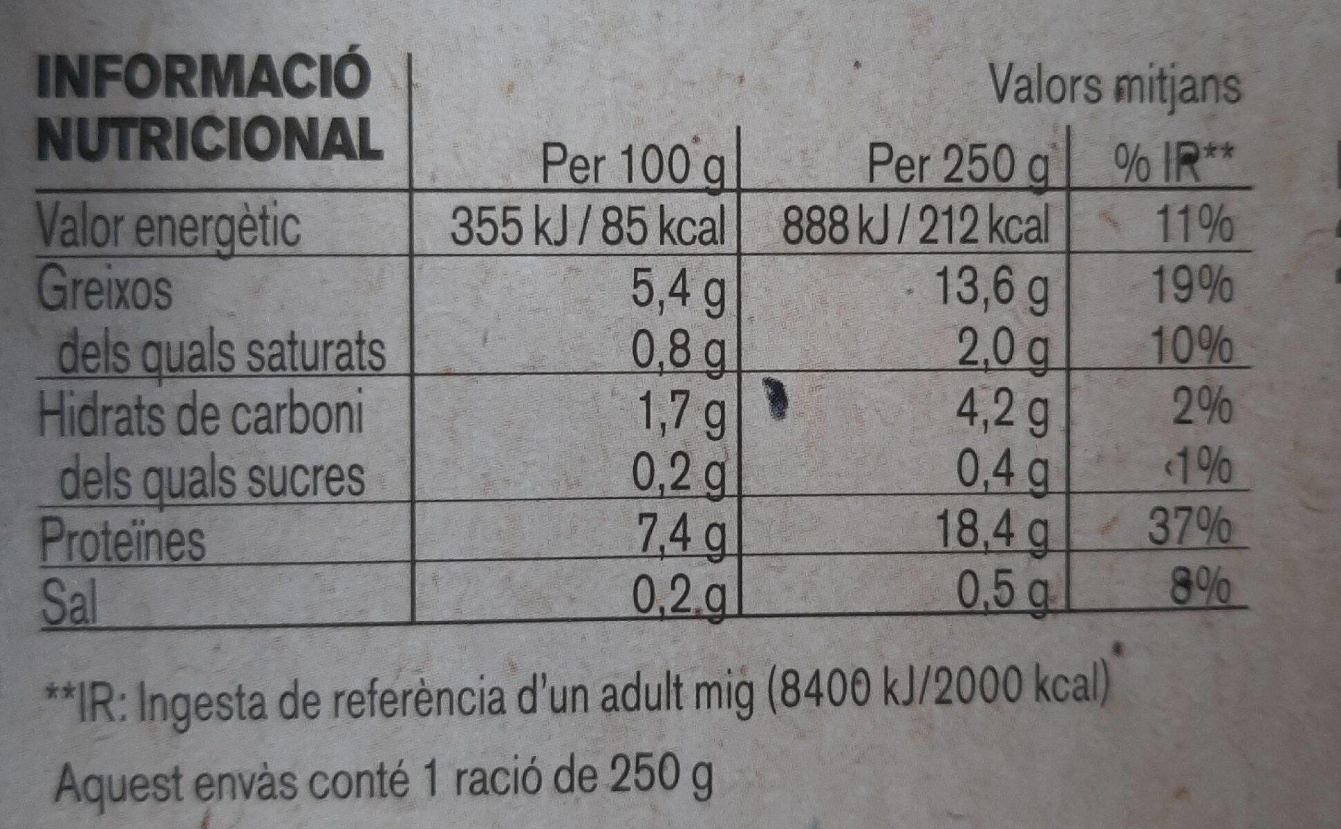 Calamarsets amb patata - Nutrition facts - es