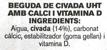 Beguda de Civada calci - Ingredients - ca