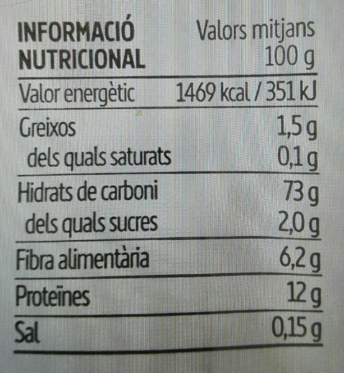 Fideus Integrals - Informations nutritionnelles