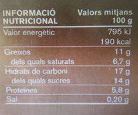 Postres xocolata - Nutrition facts