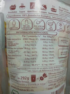 Remolacha crujiente - Informations nutritionnelles