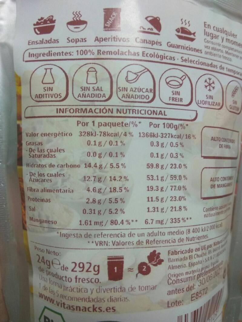 Remolacha crujiente - Informations nutritionnelles - es