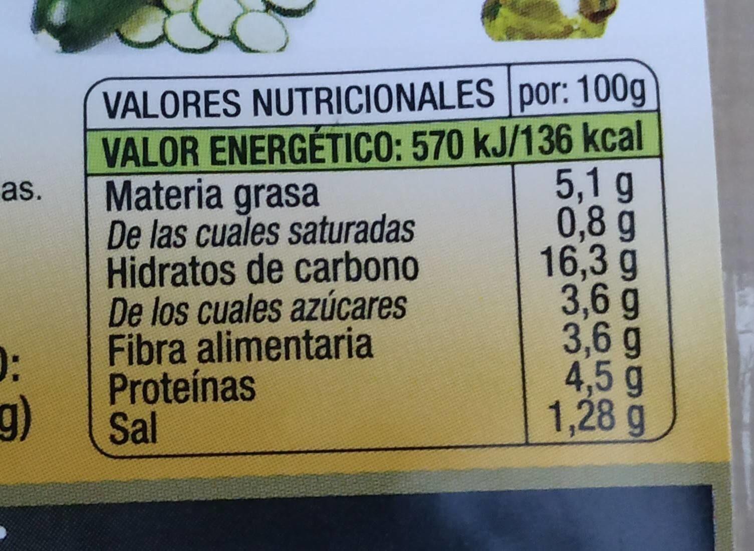 burguesana de garbanzos - Información nutricional