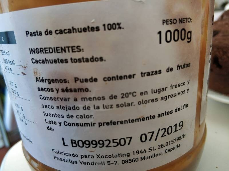 Crema cacahuetes - Ingredients