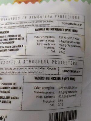 Raviolis queso de cabra y zanahoria - Nutrition facts - es