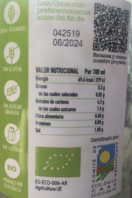 Crema de calabacin - Nutrition facts