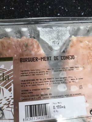 Burger-MEAT DE CONEJO - Nutrition facts