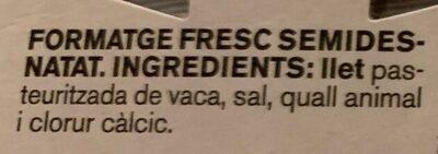 Formatge fresc - Ingredientes