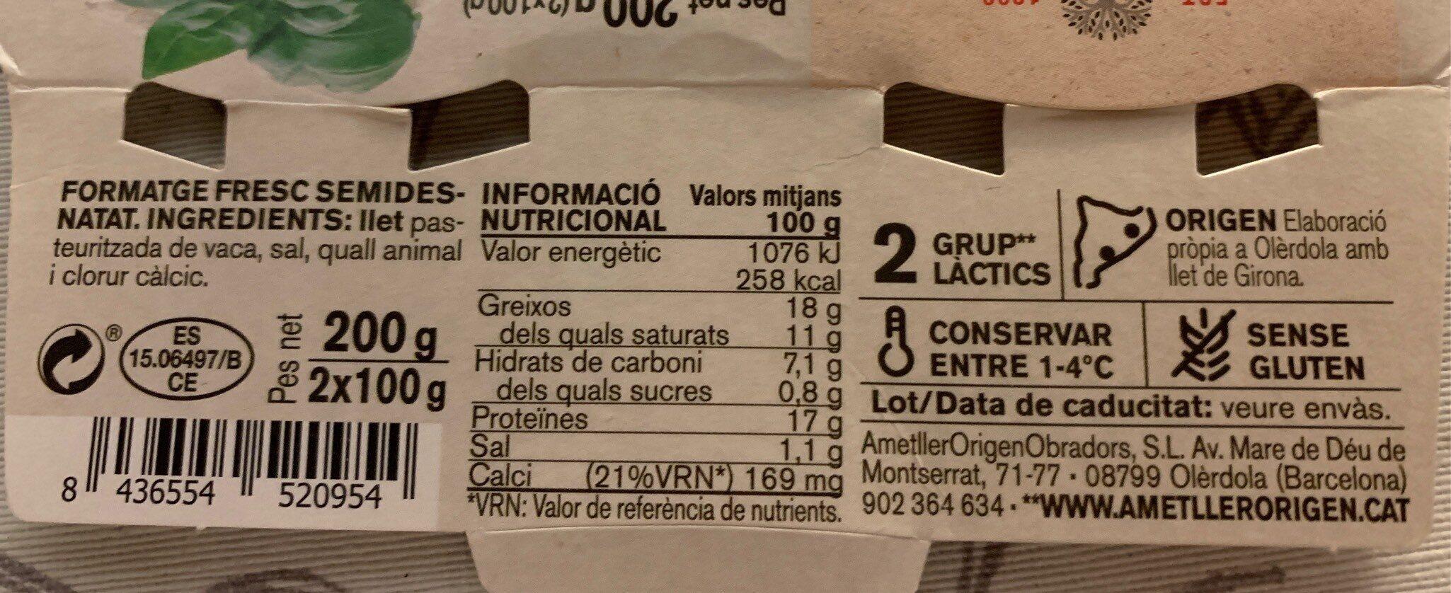 Formatge fresc - Información nutricional
