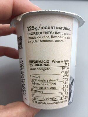 Iogurt ferm vaca - Información nutricional