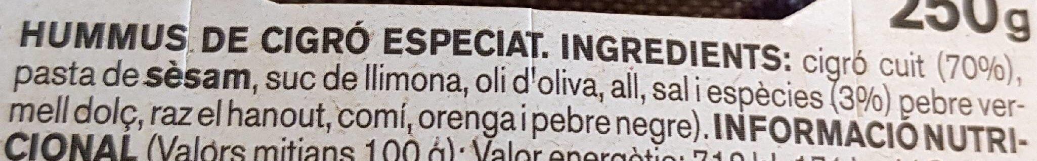 Hummus cigro - Ingrédients