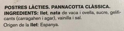 Pannacotta tradicional - Ingredientes - ca