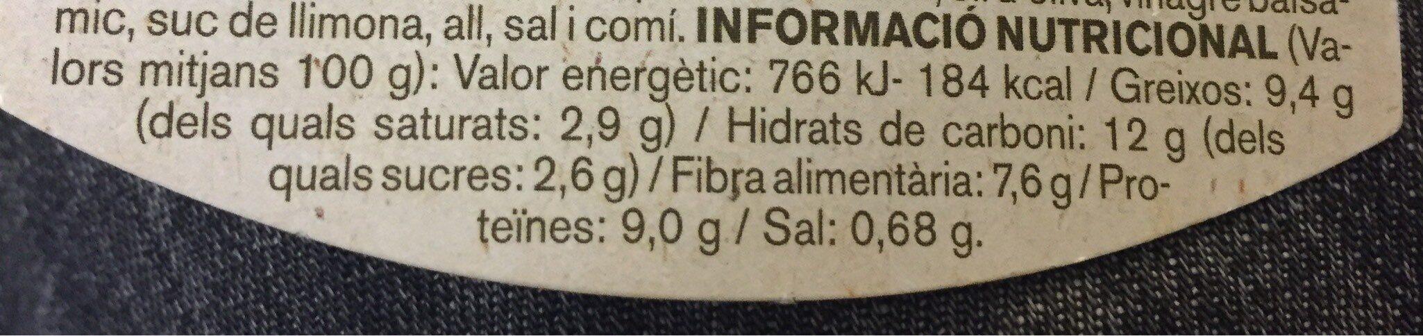 HUMMUS REMOLATXA - Información nutricional