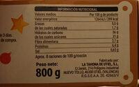 Roscón de Reyes relleno de cabello - Informació nutricional
