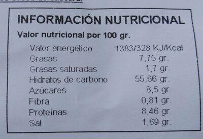 Pan de Maxi Hamburguesa - Información nutricional - es