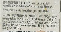 Yogur casero con lino dorado - Información nutricional