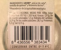 Yogur casero con quinoa - Información nutricional