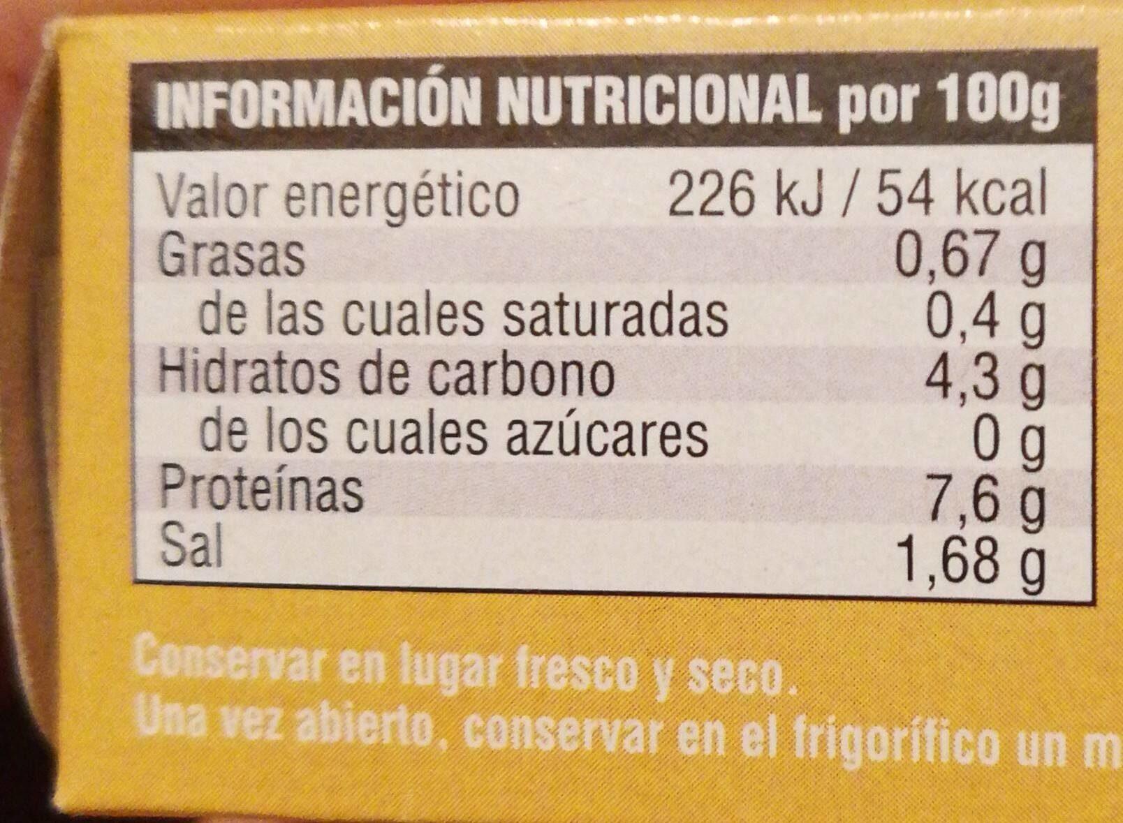 Berberechos al natural - Informations nutritionnelles - es