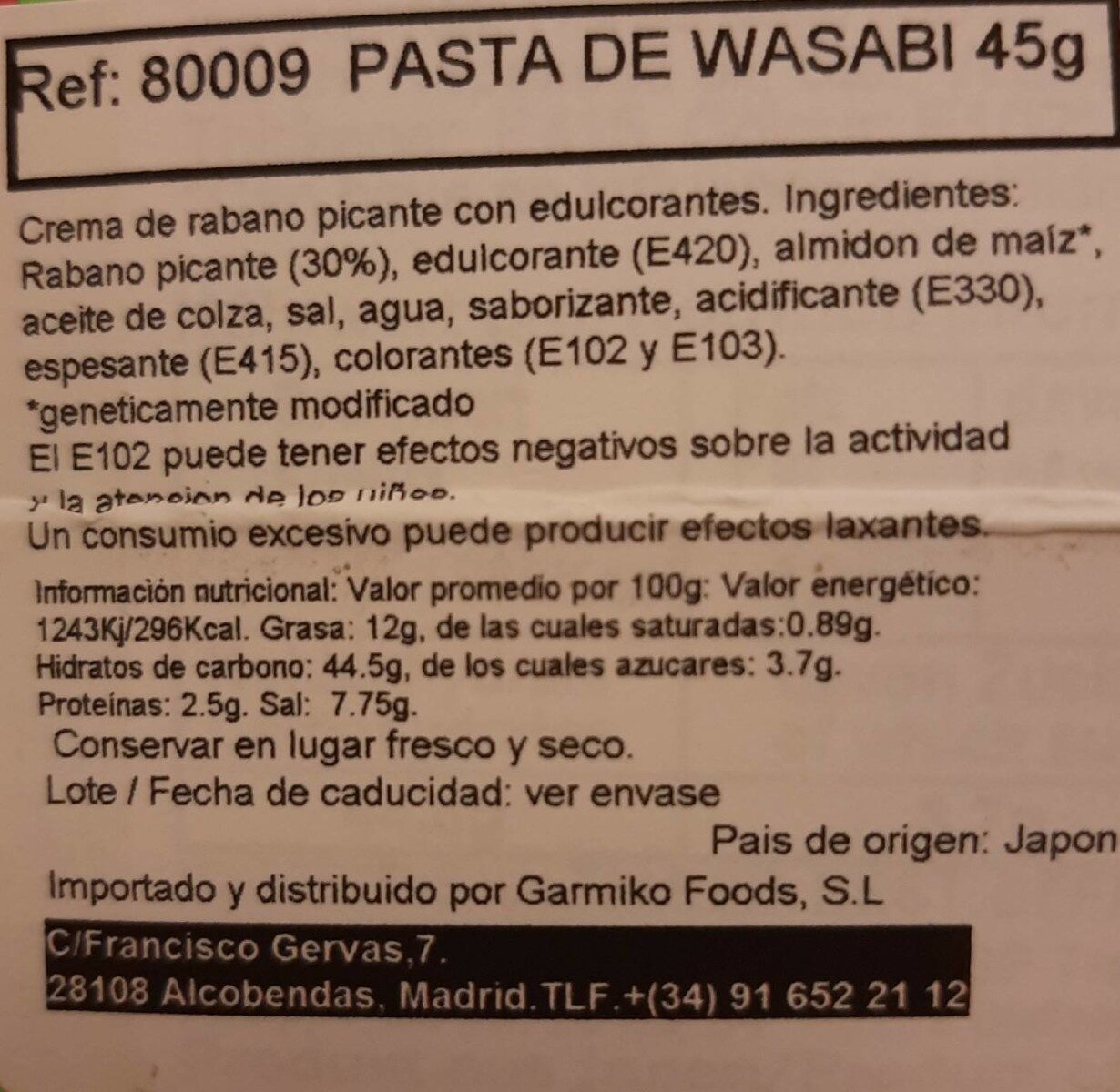 Ready-Mix Wasabi - Informations nutritionnelles - es