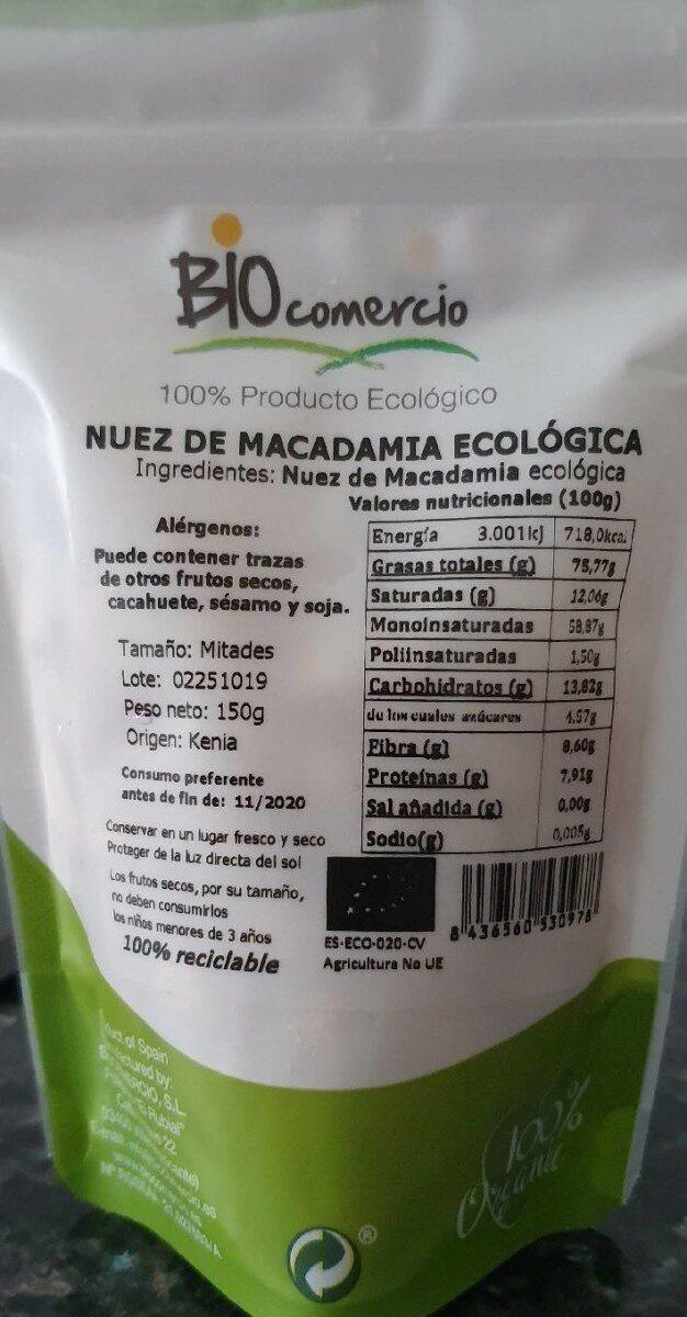 Nuez Macadamia Ecológica - Informació nutricional - es