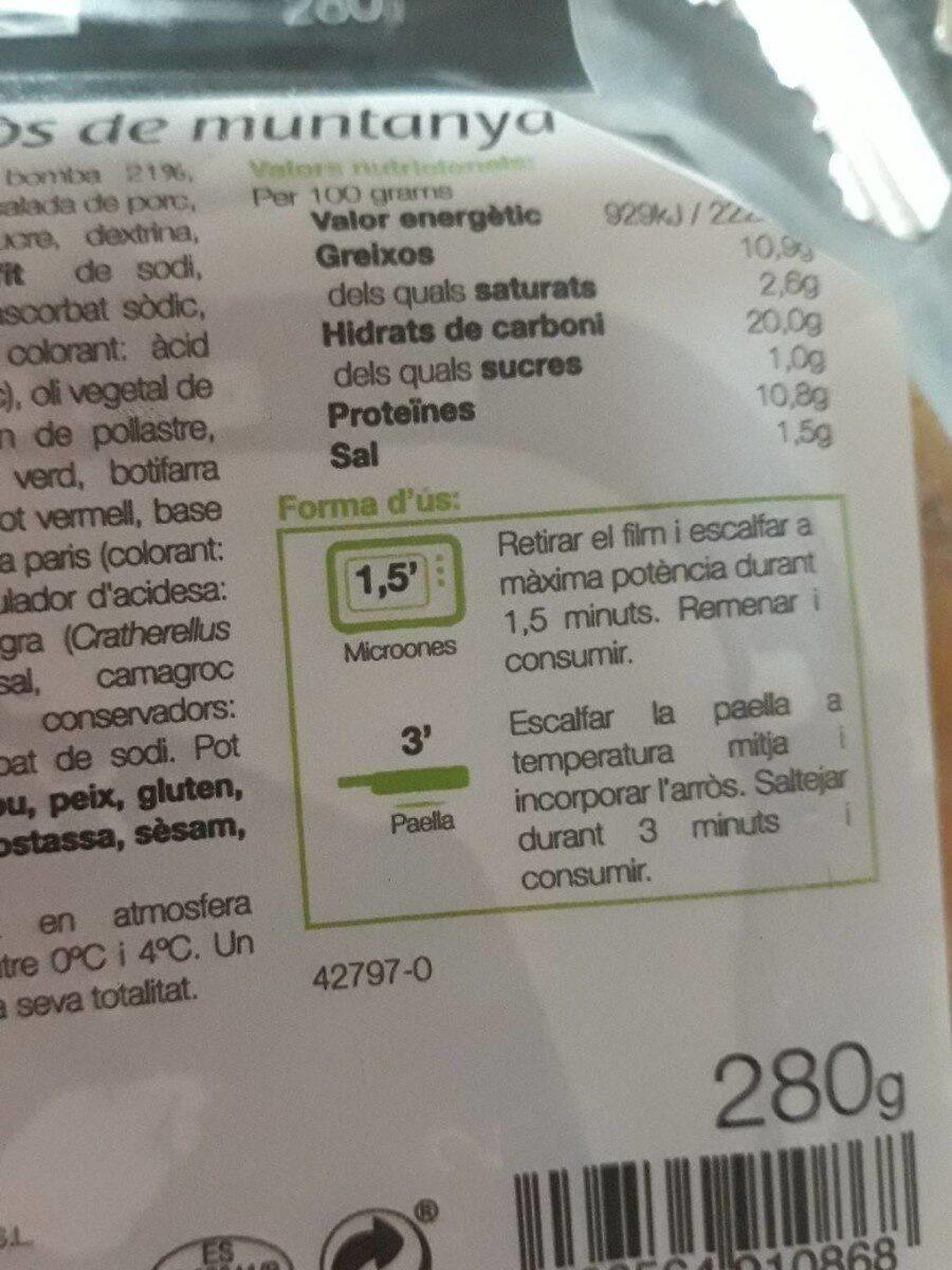 Arros de muntanya - Información nutricional