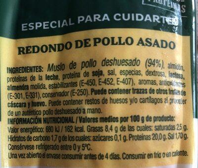 Redondo de pollo asado - Informations nutritionnelles