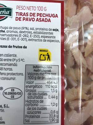 Tiras de pechuga de pavo al horno sin gluten - Voedigswaarden