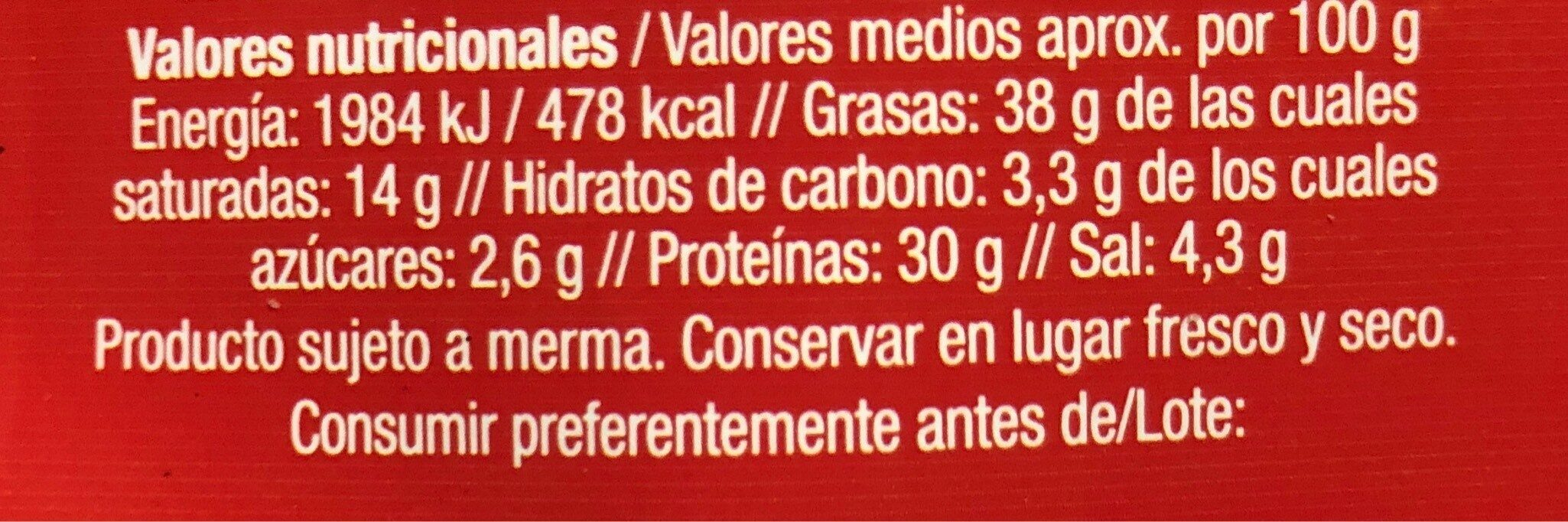 Fuet extra - Nutrition facts
