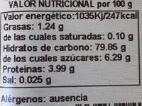 Canela Ceylan Bio Molida - Información nutricional - es