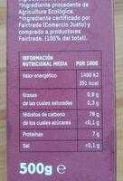 Tierra madre: arroz jazmín Hom Mali - Informació nutricional